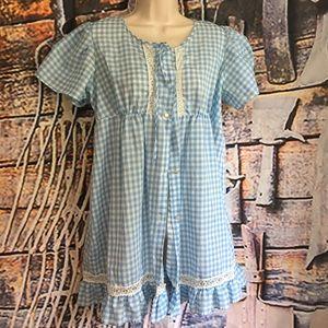 Gingham print vintage dress/ nightie ,m